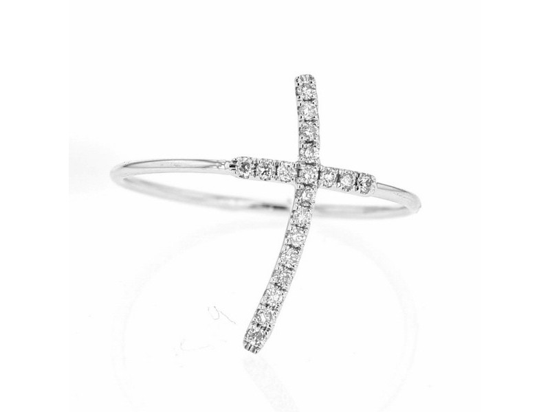 Pave set cross ring in 18 K gold