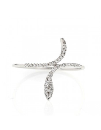 Bague serpent pavé de diamants sertis grains en or blanc