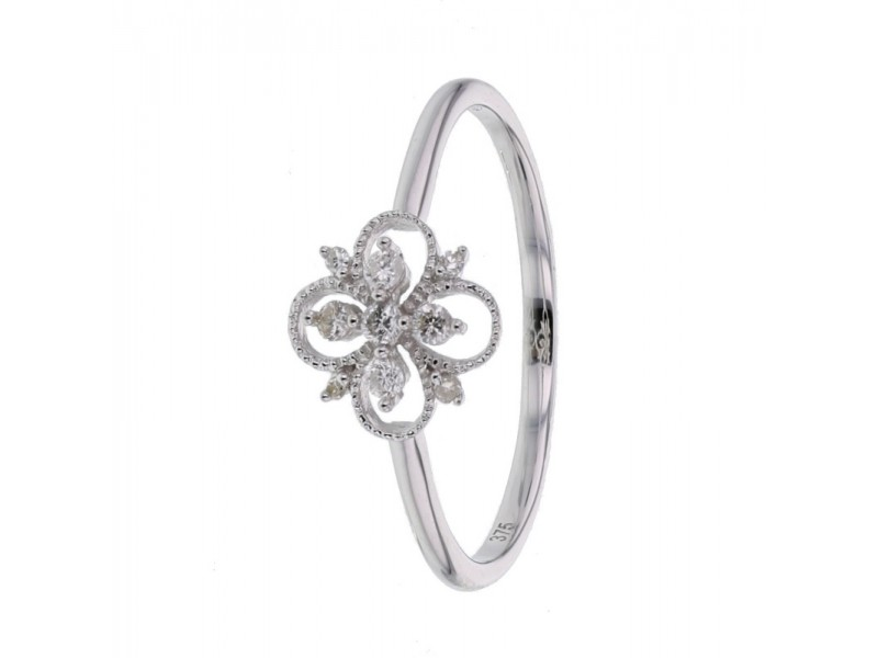Bague fleur vintage diamants en or blanc