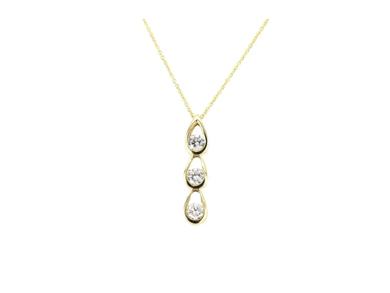 Three stone bezel-set diamond necklace in 18 K gold