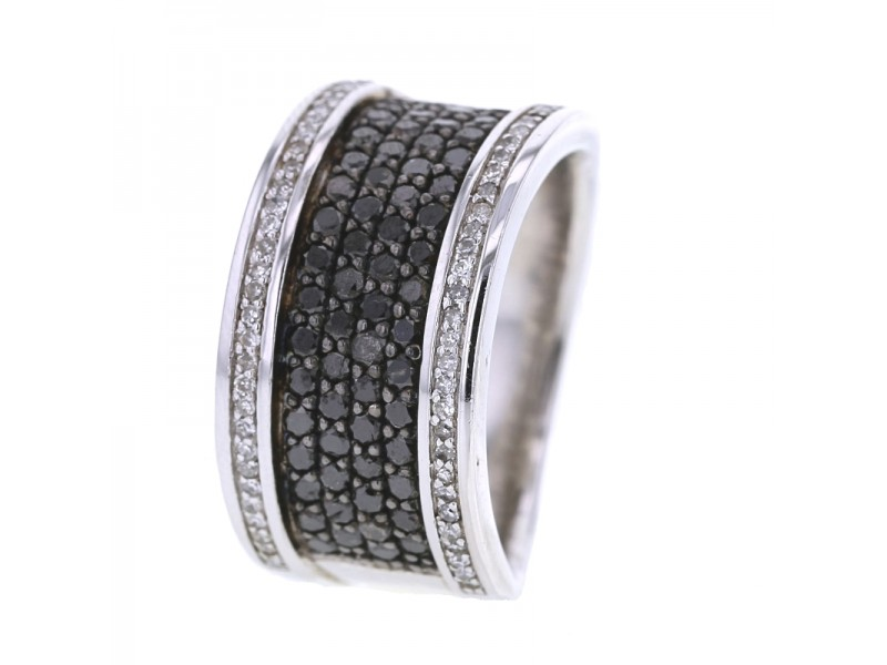 Black and white pave set diamond ring in silver