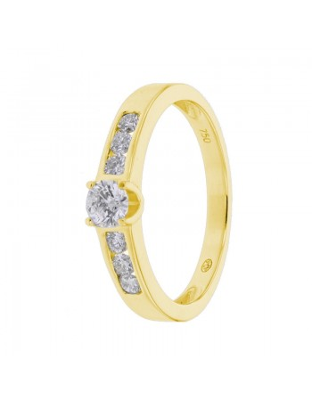 Diamond engagement ring in yellow gold - 18 K gold: 2.80 Gr