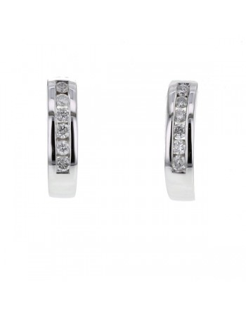 Diamond earrings in white gold - 18 K gold: 1.70 Gr