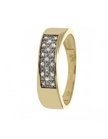 Diamond ring in yellow gold - 9 K gold: 1.90 Gr