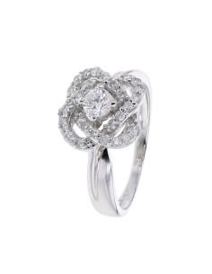 Bague solitaire accompagné diamants en or blanc