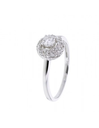 Engagement solitaire ring diamond sided in 18 K gold