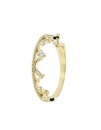 Diamond wedding ring in yellow gold - 9 K gold: 1.70 Gr