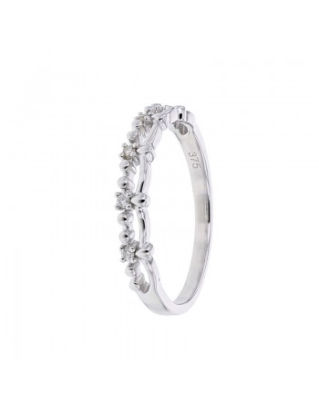Diamond wedding ring in white gold - 9 K gold: 1.60 Gr