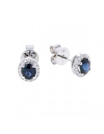Boucles d'oreilles saphirs entourages diamants en or blanc