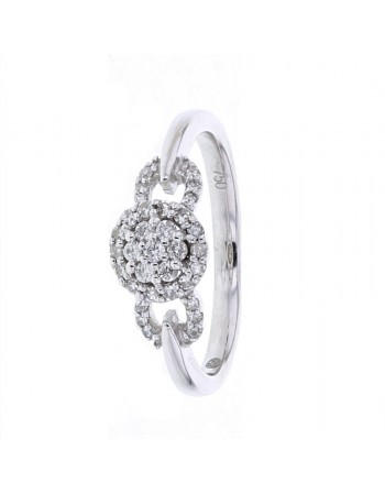 Bague empire multi-pierres diamants en or blanc