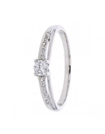 Diamond engagement ring in white gold - 9 K gold: 1.40 Gr