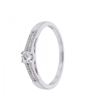 Diamond engagement ring in white gold - 9 K gold: 1.70 Gr