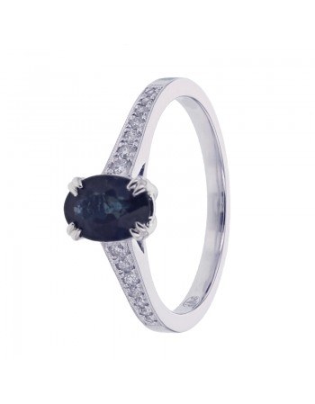 Sapphire and diamonds ring in white gold - 9 K gold: 2.20 Gr
