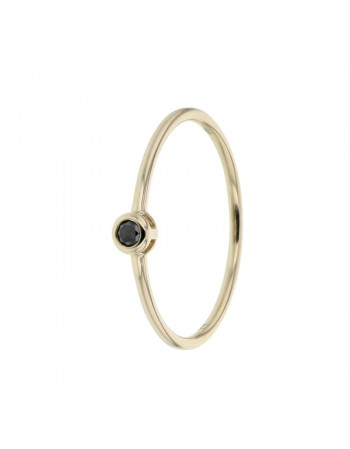 Solitaire black diamond ring in 9 K gold