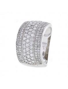 Bague pavé avec des diamants blancs en or blanc