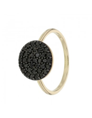 Pave set black diamond disc ring in 9 K gold