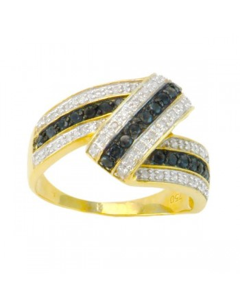 Bague ruban pavé de diamants noirs et blancs en or jaune