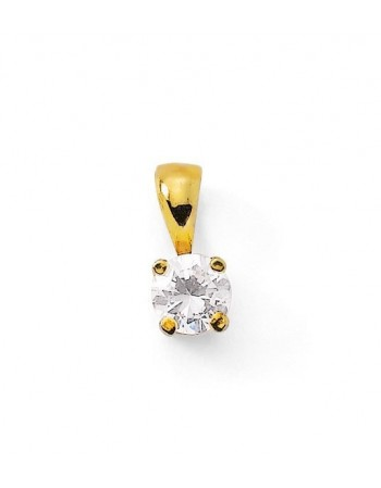 Diamond pendant in yellow gold - 18 K gold: 0.60 Gr