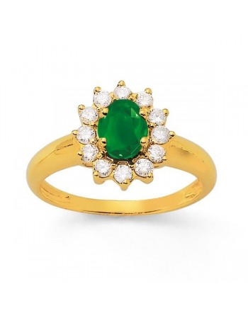 Emerald and diamonds ring in yellow gold - 18 K gold: 3.70 Gr