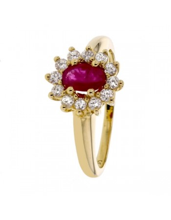 Ruby and diamonds ring in yellow gold - 18 K gold: 3.70 Gr