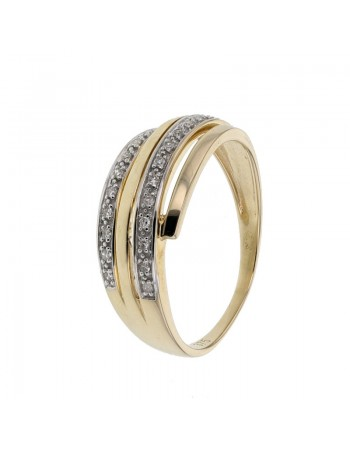 Multi-strand diamond ring in 9 K gold