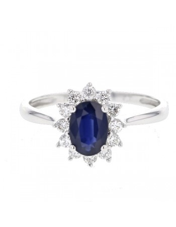 Bague saphir entourage de diamants sertis griffes en or blanc