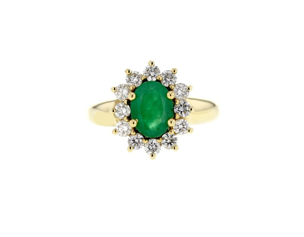 Top Bague de fiancailles emeraude Bague emeraude entourage de diamants OY17