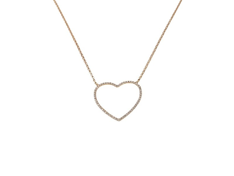 Diamond necklace in rose gold - 18 K gold: 2.74 Gr