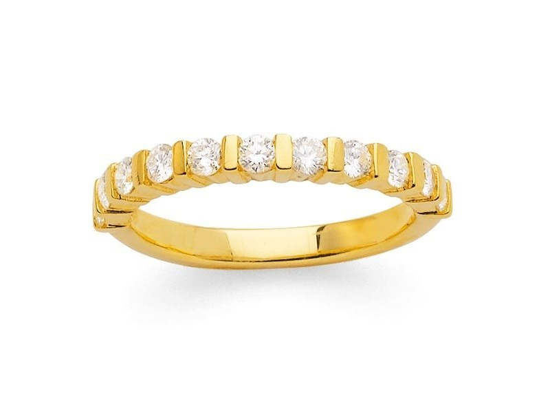 Diamond wedding ring in yellow gold - 18 K gold: 3.50 Gr