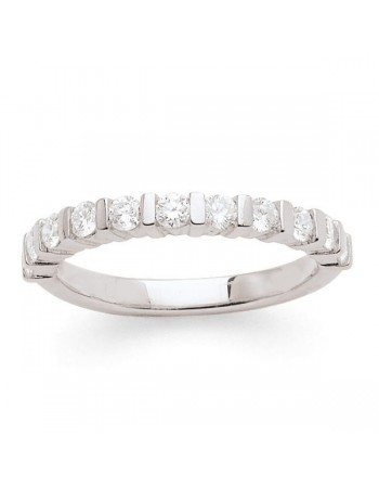 Diamond wedding ring in white gold - 18 K gold: 3.50 Gr