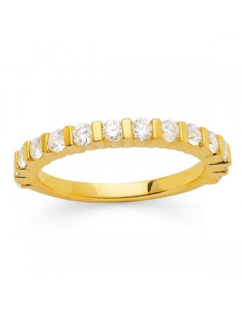 Diamond wedding ring in yellow gold - 18 K gold: 3.90 Gr