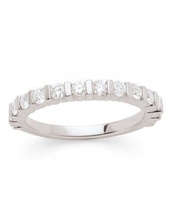 Diamond wedding ring in white gold - 18 K gold: 3.90 Gr