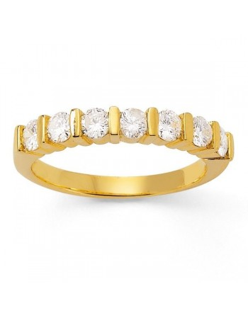Diamond wedding ring in yellow gold - 18 K gold: 4.50 Gr