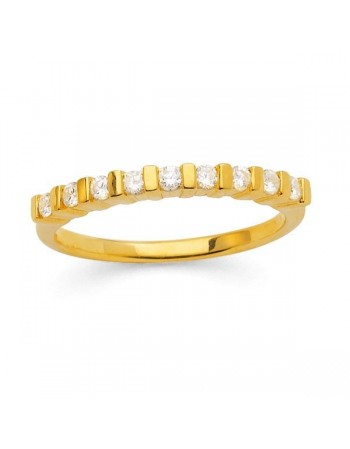 Diamond wedding ring in yellow gold - 18 K gold: 2.50 Gr