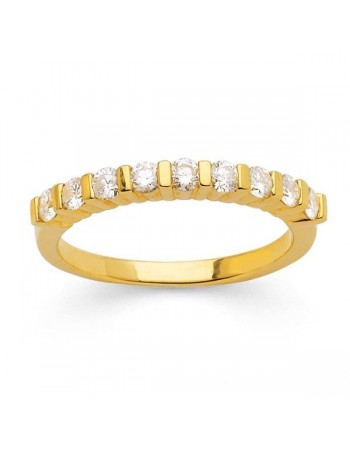 Demi-alliance diamants sertis entre barrettes en or jaune