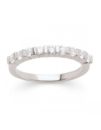 Diamond wedding ring in white gold - 18 K gold: 2.90 Gr