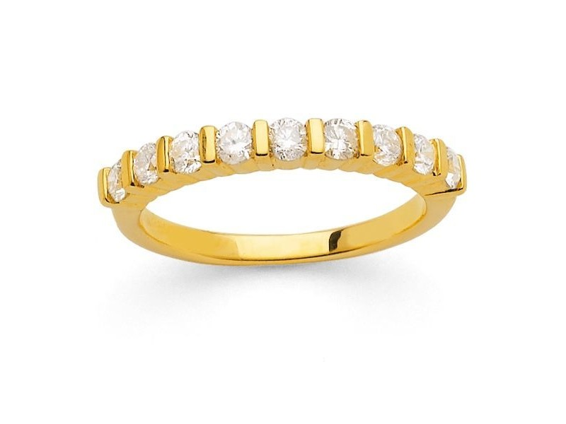 Diamond wedding ring in yellow gold - 18 K gold: 3.40 Gr