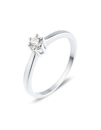 Diamond engagement ring in white gold - 9 K gold: 2.10 Gr