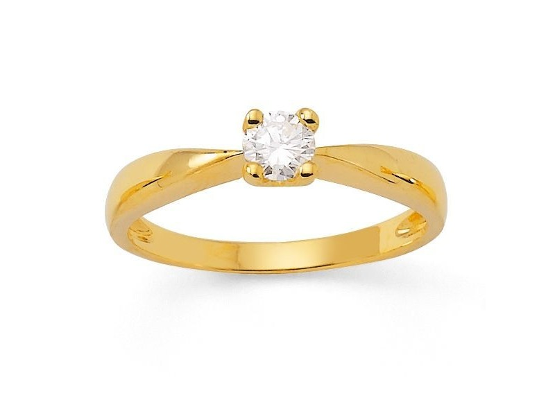 Diamond engagement ring in yellow gold - 18 K gold: 2.30 Gr
