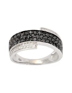 Bague pavé diamants noirs et blancs en or blanc