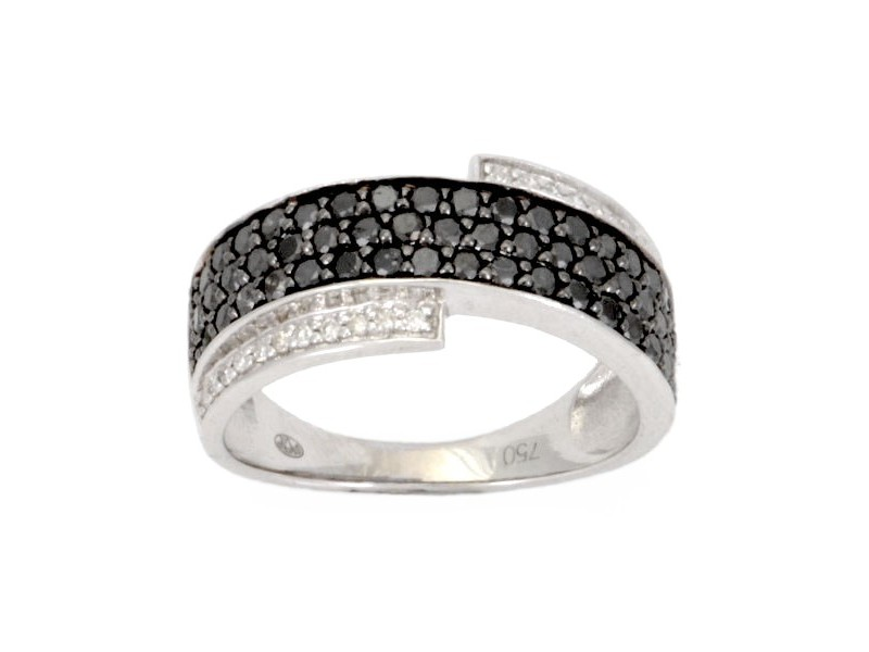 Diamond ring in white gold - 18 K gold: 4.10 Gr