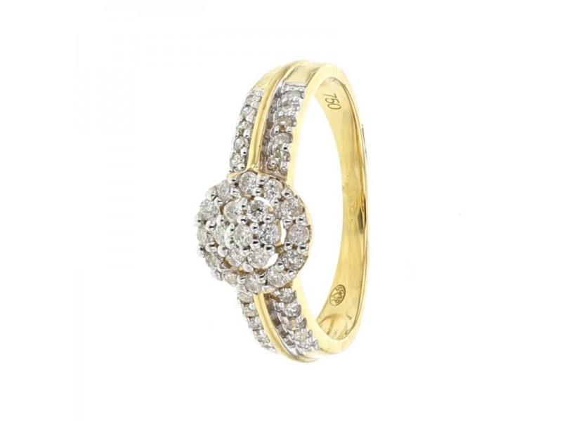Bague empire multi-pierres diamants en or jaune