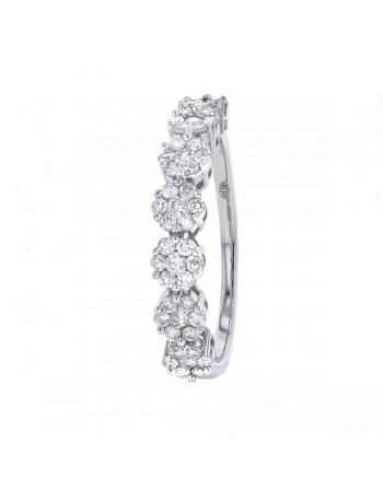 Diamond wedding ring in white gold - 18 K gold: 3.00 Gr