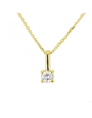 Diamond necklace in yellow gold - 18 K gold: 1.83 Gr