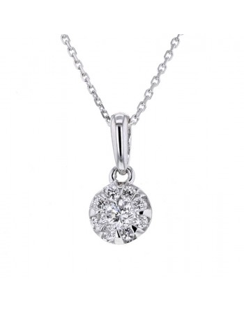 Collier ronde diamants en or blanc