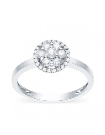 Bague multi-pierres diamants entourages de diamants en or blanc