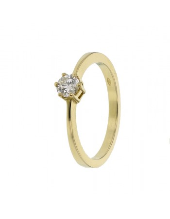 Diamond engagement ring in yellow gold - 18 K gold: 3.10 Gr