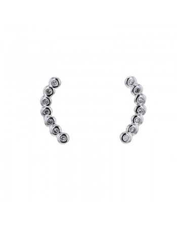 Boucles d'oreilles montante ronds pavés diamants en or blanc