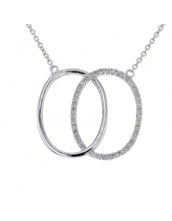 Pave set diamond necklace in 9 K gold