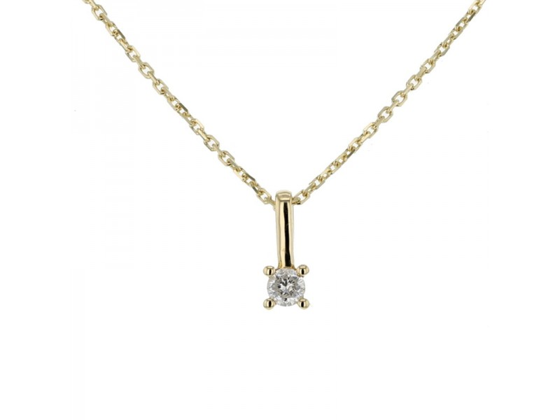 Diamond necklace in yellow gold - 18 K gold: 1.84 Gr